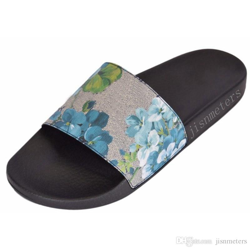 09edcaa72d1a Factory Outlet Mens And Womens Fashion Blue Flower Blooms Slide Sandals  Summer Outdoor Beach Causal Slippers Nude Wedges Bridal Shoes From  Jisnmeters
