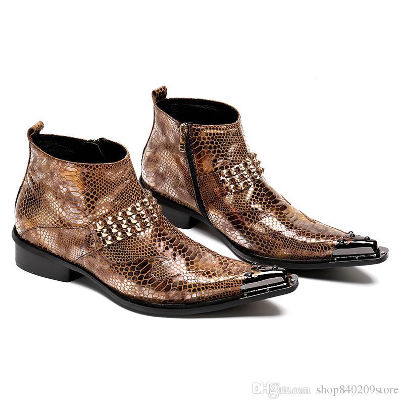 online store e5ac3 ad864 2018 Stahl Spitz Zip Ankle Boots Herren Schuhe Leder Marke Designer  italienische Schuhe Nieten Schnalle Mens Military Boots