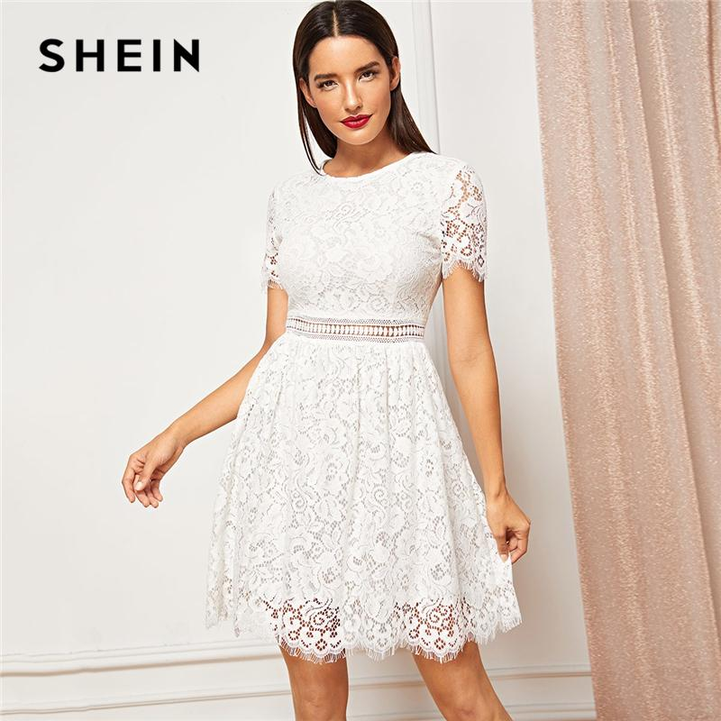 76a084115910 Acquista SHEIN Weekend Casual White Lace ElegantContrast Solid Manica Corta  Girocollo Dress Autumn Modern Lady Abiti Da Donna Casual A  39.35 Dal Maoku  ...