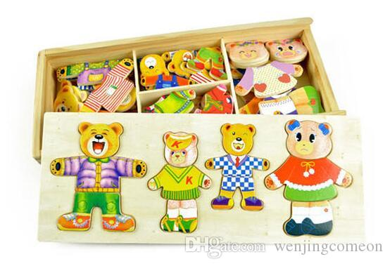 Baby Wooden Puzzle toys little bear change clothes Children's early education Wooden jigsaw Puzzle Dressing game
