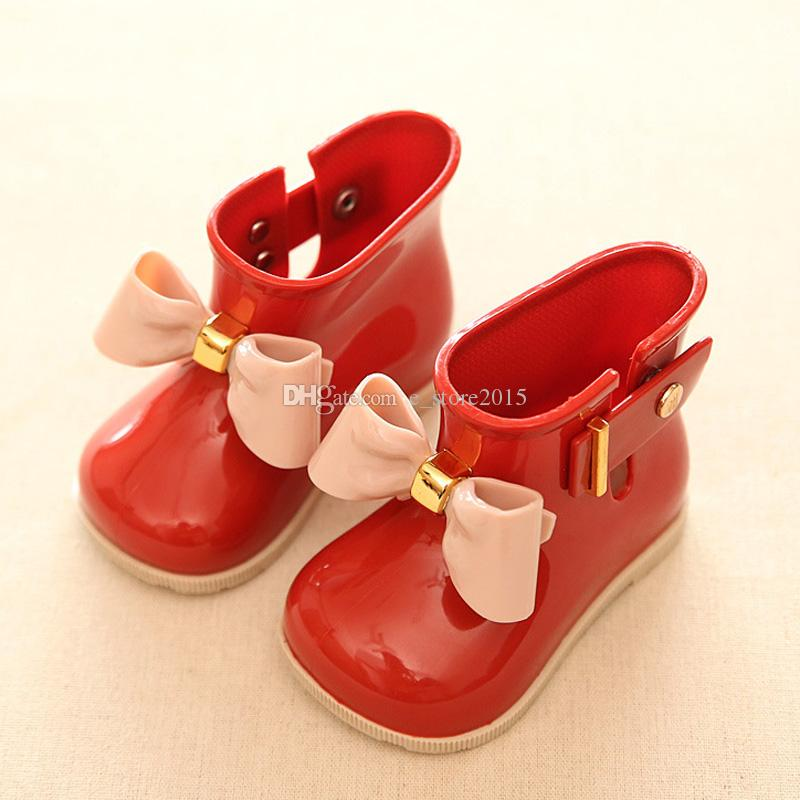 Mini SED Cute Baby Jelly shoes For Girl Shoes Children Bow Rain Boot Girls Sandal Cute Girls Shoes Kids Rainboots