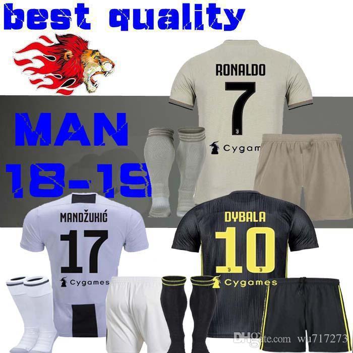 1f96554b8 2019 2018 Juventus Ronaldo Soccer Jersey Adult Kit 18 19 HIGUAIN DYBALA  D.COSTA MANDZUKIC MATUIDI Men Set Football Shirt Jerseys RONALDO Away From  Wu717273