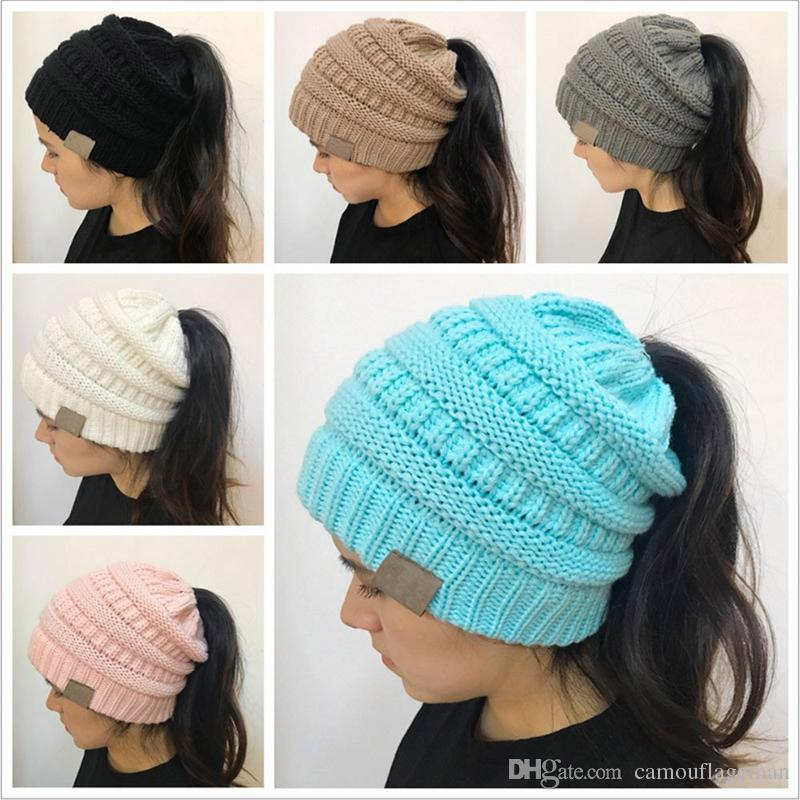 Wholesale CC Ponytail Beanie Hats For Women Winter Cap Knitted Skullies  Beanies Warm Caps CC Ponytail Hat CC Ponytail Beanie Winter Knitted  Skullies CC ... 9f81f14f9fb