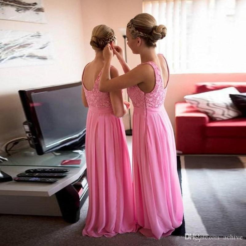 Hot Sale Applique Lace Pink Bridesmaid Dresses Long Evening Gowns Chiffon Wedding Guest Dresses Custom Made Maid of Honor Gown USA UK 2018