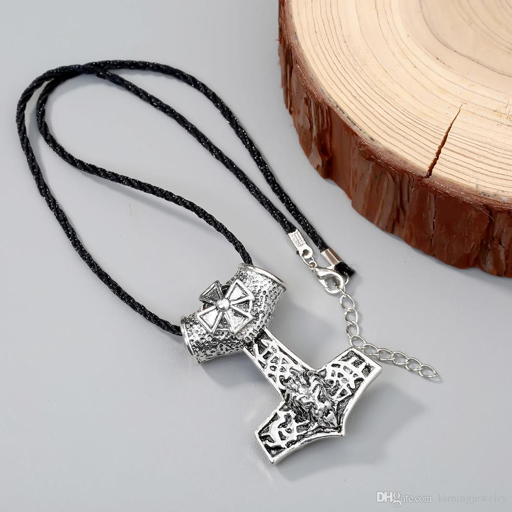 Fashion Viking Myth Thor Hammer Mjolnir Norway Magic Tin Pendant Necklace Cool Jewelry Crave Animal Head Necklaces