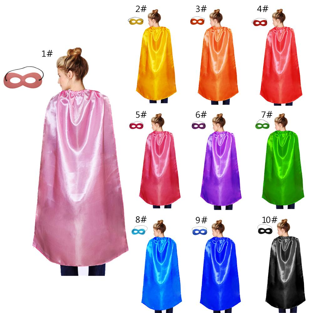 one layer plain party cape with mask show cosplay solid color single lace-up satin costume adult size cape