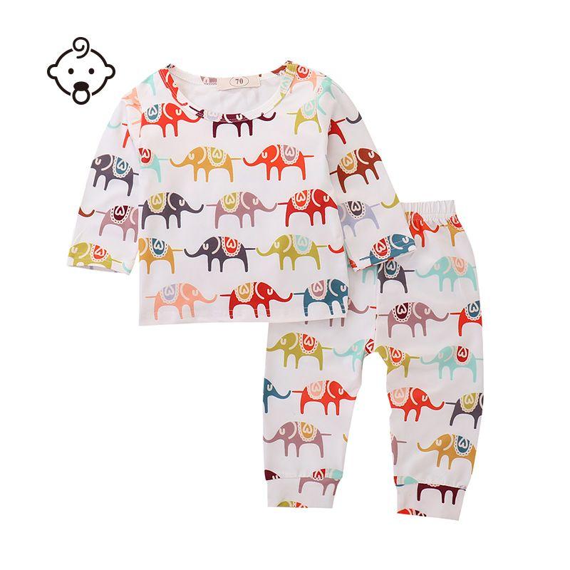 98fefded5 2019 Autumn Winter Baby Clothing Long Sleeve Elephant Print Set ...