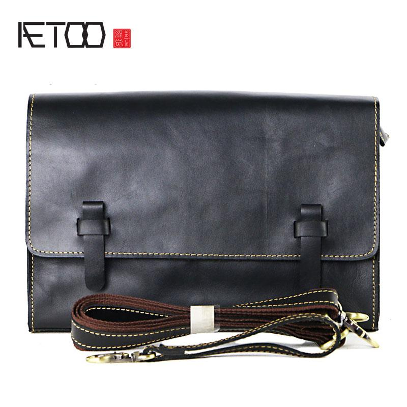 88616611861 AETOO Men's hand large-capacity hand-held leather shoulder retro Messenger  bag covered