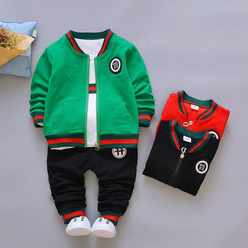 c19f6026e 2019 2018 Autumn Fashion Boys Set Coat T Shirt Pants 3PS Kids ...