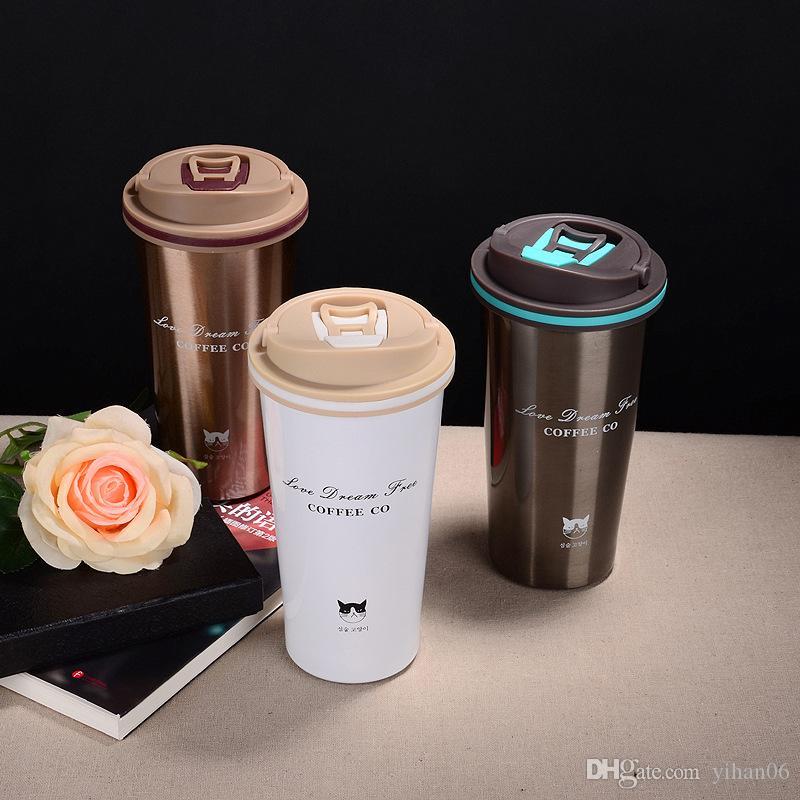 500 ml Isolierflasche Tasse Kaffeetasse Mürrische Katze Edelstahl Thermoskanne Hohe Qualität 12-24 h Geschenk Tassen 30 STÜCKE