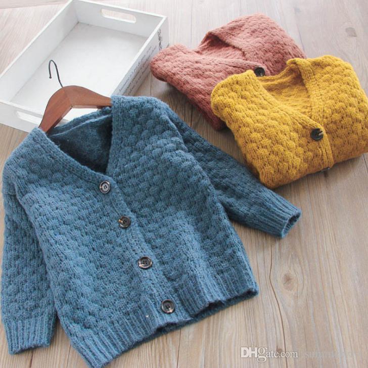 65878dfb5d3a09 ... wool sweater  Autumn Girls Cardigan Littler Boys Long Sleeve V Neck  Sweater Outwear Children Single Breasted Knitting Cardigan ...