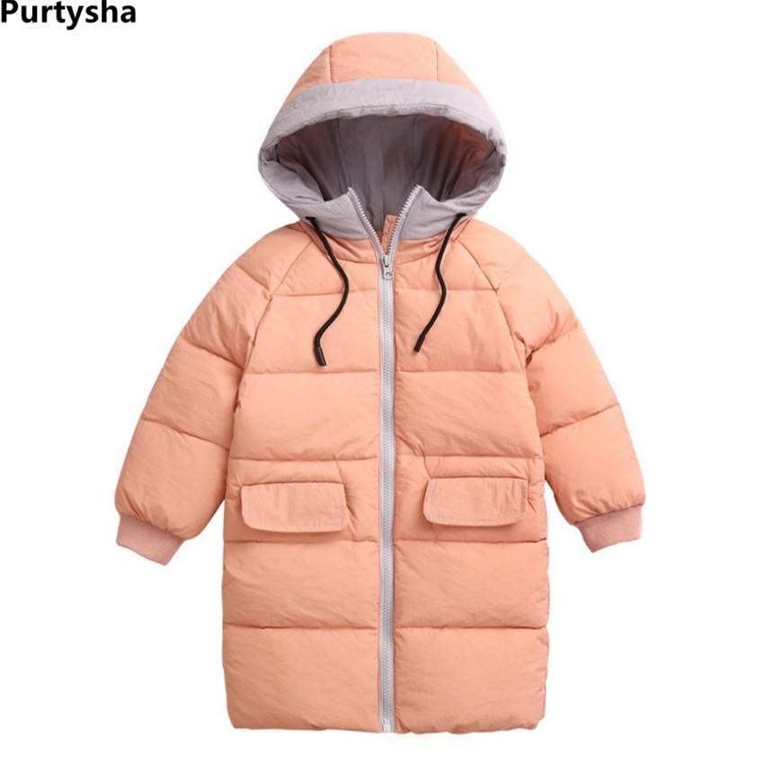 579ab6e56 2018 New Fashion Toddler Boys Girls Winter Coat Kids Winter Jacket Baby  Warm Thickern Hooded Long Down Jacket Outerwear 2Y 8Y Boys Black Winter Coat  Boy ...