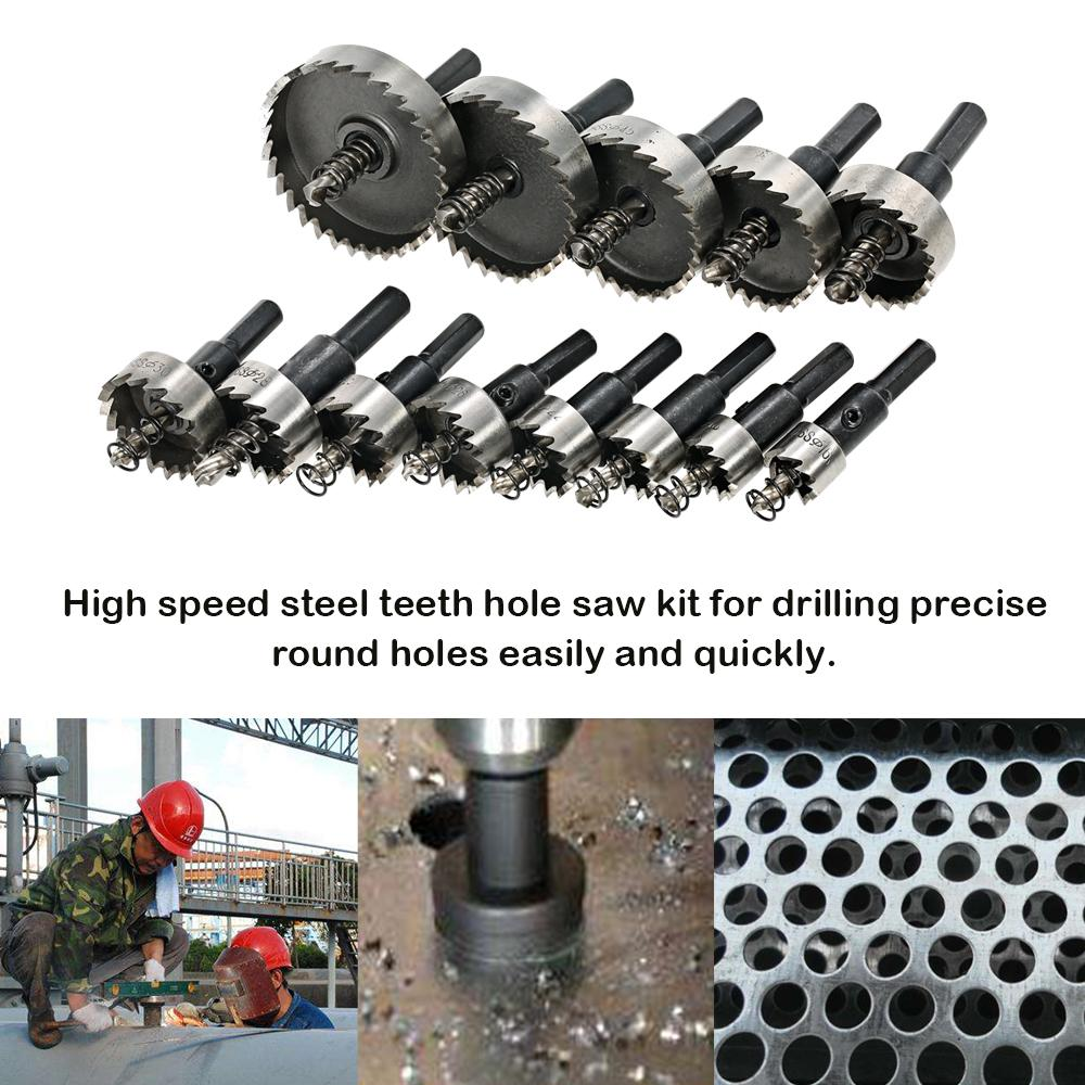 13PCS High Speed Steel Hole Saw power tools wood Cutter Tool Saw Tooth HSS Drill Bits Set 16-53mm Drilling woodworking Tools