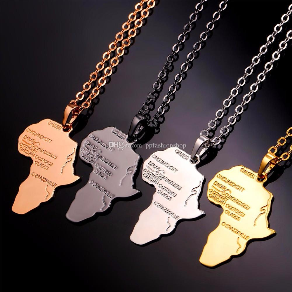 4 Style Africa Map Pendant Necklace for Women/Men Silver/Gold Color Ethiopian Jewelry Wholesale African Maps Hiphop Item