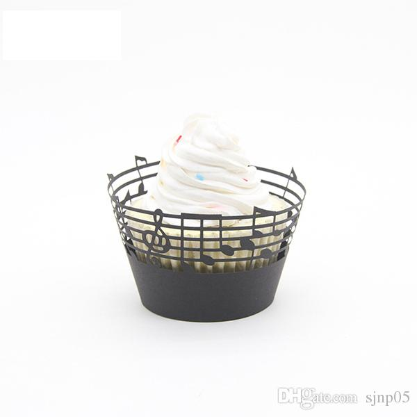 Creative Music Note Cupcake Wrapper Paper Musical Staff Muffin Holder Cupcake Wrappers Cup Cake Topper for Party Banquet Decoration