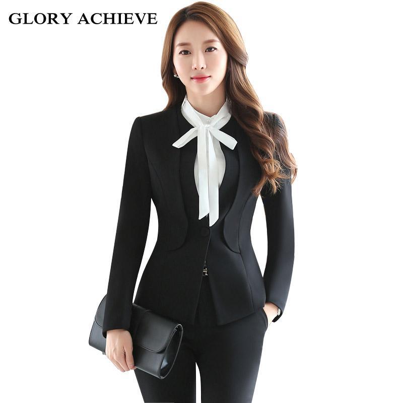 5f235e9d1a4 Set Formal Professional Pant Suits OL Styles Ladies Office Uniforms  Business Women Pants Suits Outfits Pant Suits Women s Business Pant Suits  Women Pant …