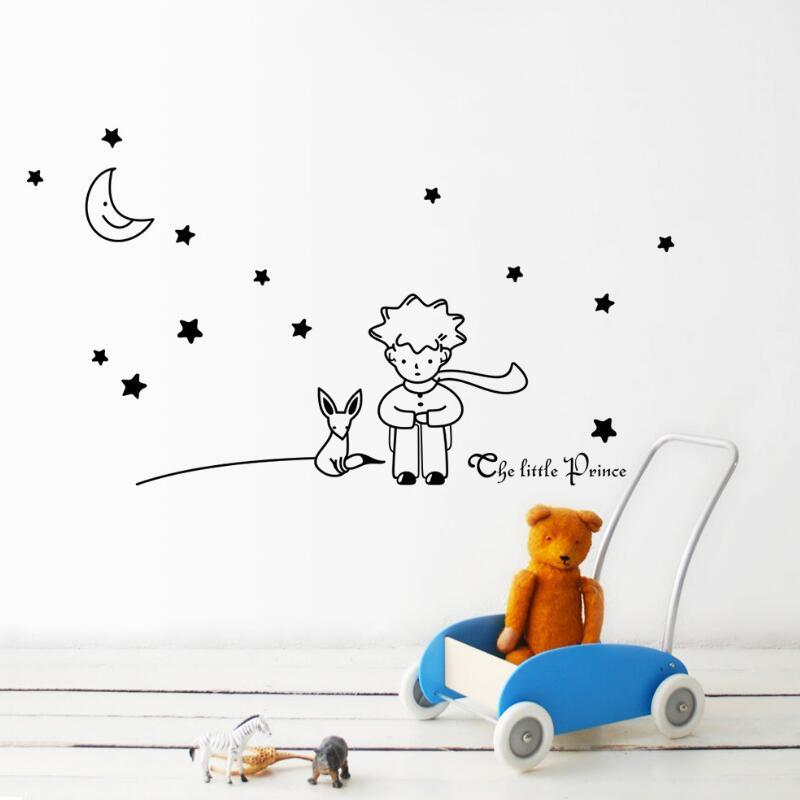 Popular Book Fairy Tale The Little Prince With Fox Moon Star Home Decor Wall Sticker For Kids Rooms Child Birthday Gift Free Shipping