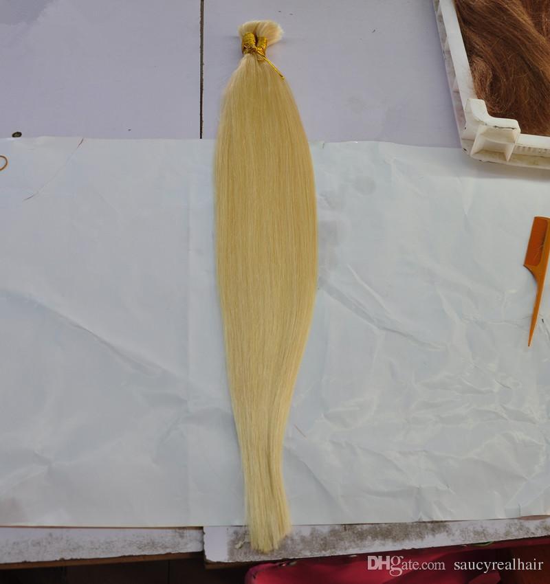 Bonne affaire couleur 613 Blonde Extension de cheveux humains en vrac pas cher droite vague brésilienne cheveux en vrac pour tresses sans attachement, livraison gratuite