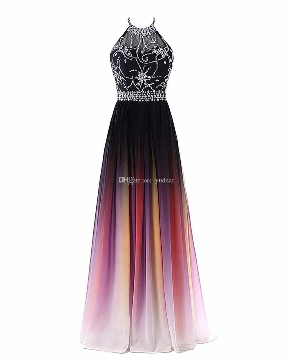 Großhandel 19 Sexy Neckholder A Linie Farbverlauf Prom Kleider Perlen  Sheer Neck Lace Up Pluning Zurück Design Frauen Abendkleid Taille Perlen