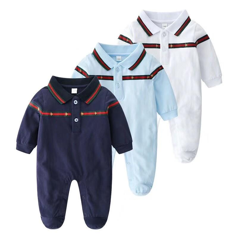 38dee07cd 2019 2018 Spring And Autumn Baby Round Neck Long Sleeved Jumpsuit Three  Color Line Stitching Comfortable And Breathable Cute Romper 12 18 Months  From ...