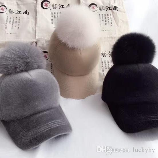 Korean Large Fur Ball Cap Female Winter Warm Woollen Cloth Baseball Cap  Easy Bend along the Hat Tide Sport Cap Online with  19.07 Piece on  Luckyhy s Store ... 4dca1fa85f1