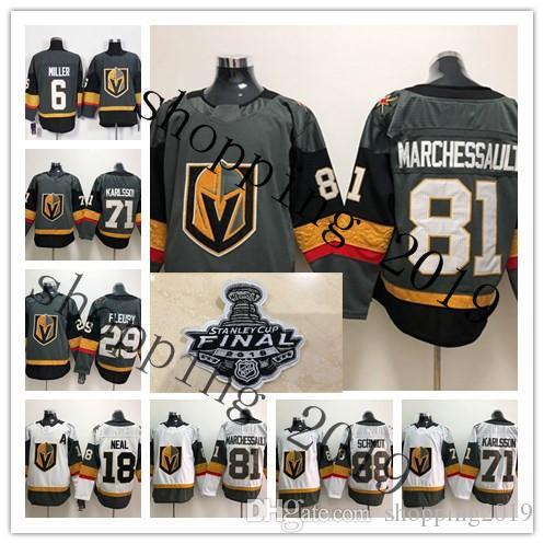 e43d1cd3f 2019 2018 Stanley Cup Finals Vegas Golden Knights Jersey 18 James Neal 29  Marc Andre Fleury 71 William Karlsson 88 Nate Schmidt 56 Erik Haula From ...