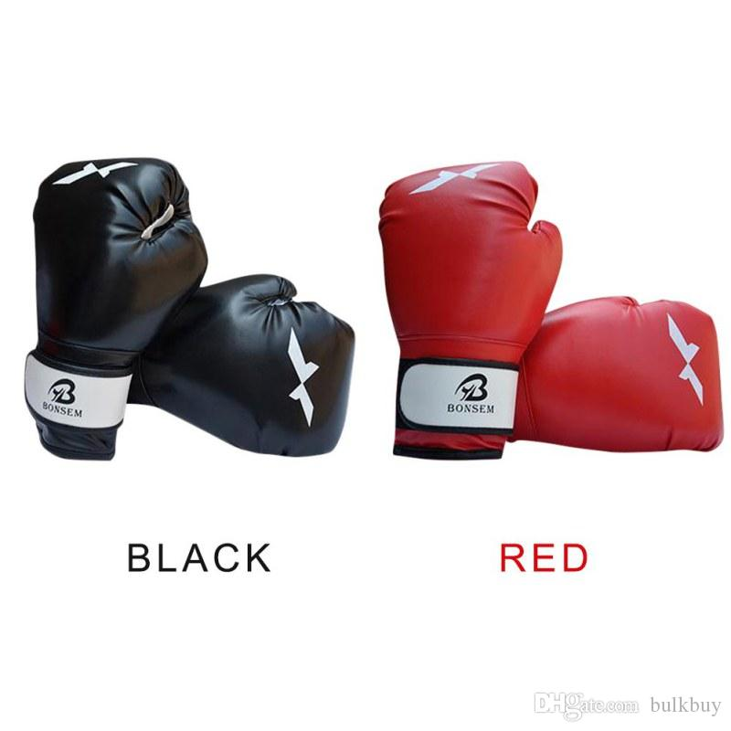 Men Women Fitness Sports Black/Red Color PU Leather Boxing Punching Muay Thai Boxing Gloves Equipment Boxer Gloves