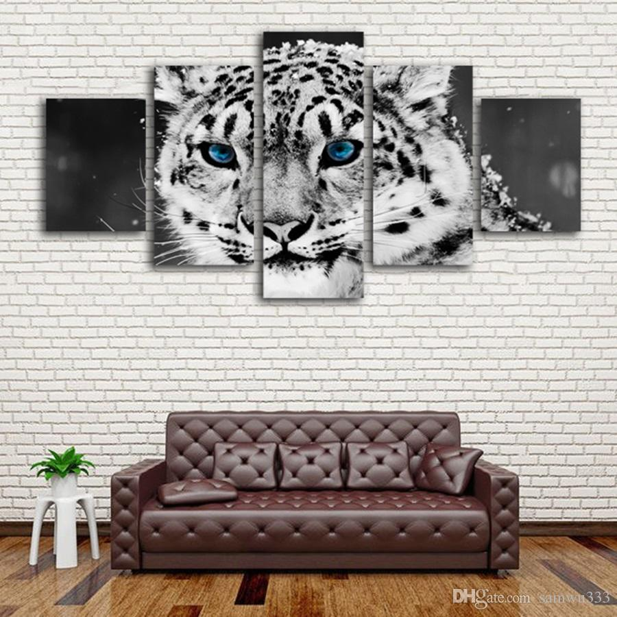 Grosshandel Fashion Blue Eyes Leopard Im Schnee Leinwand Malerei Ohne