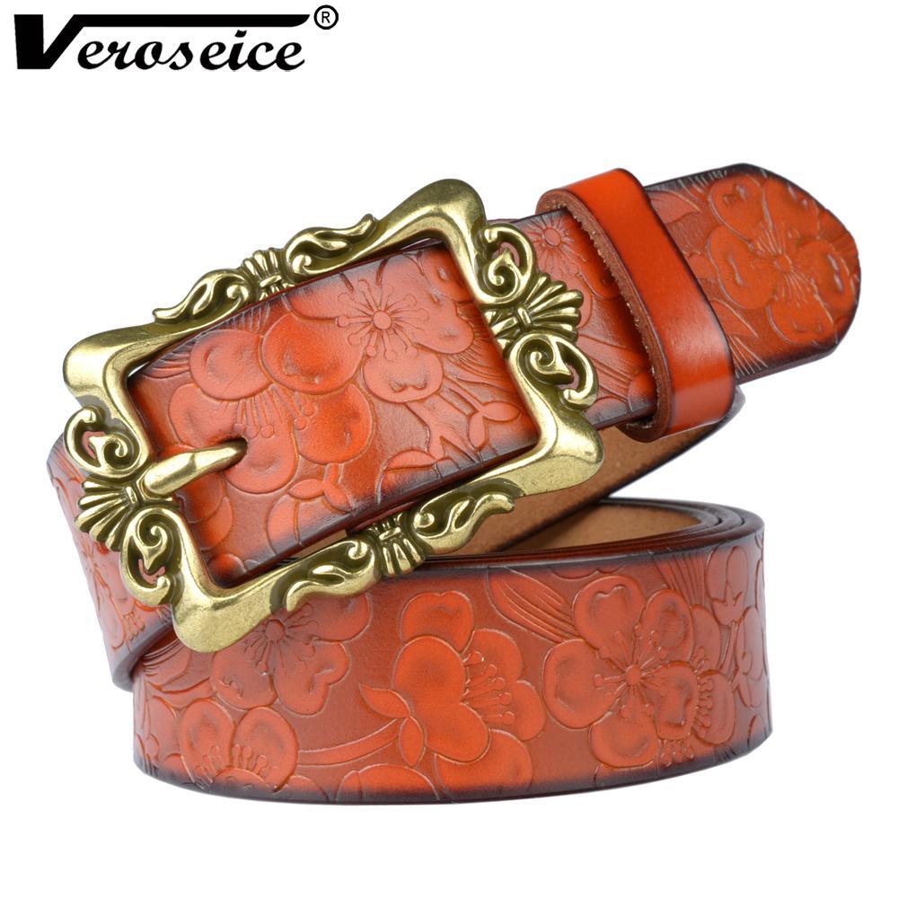 03c57c9505fe Acheter Veroseice Hot Style Russe En Cuir Véritable Femmes Ceinture Vintage  Pin Boucle Ceinture Pour Femmes De Luxe En Cuir Bracelet Femelle Ceinture De  ...