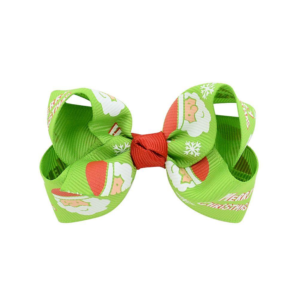 Christmas Baby Girls Hair Clips 3 Inch Grosgrain Ribbon Bows With Clips Childrens Xtmas Hair Accessories Kids Cartoon Barrette Hairpins BN10