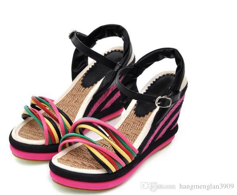 gladiator sandals women 2018 women wedges sandals bohemia color block decoration straw braid platform Round head anti-skid