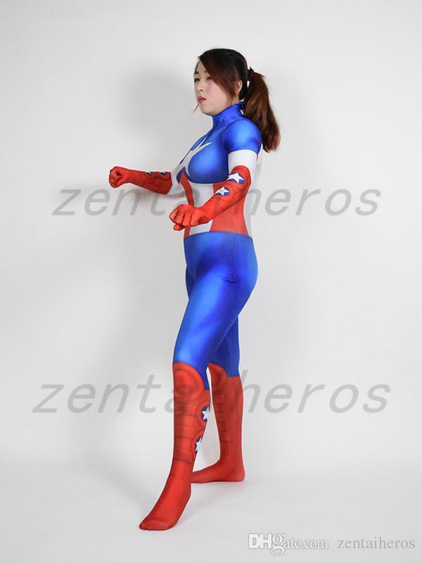 grosshandel 3d drucken captain america madchen superheld kostum spandex lycra zentai anzug cosplay halloween party kostum von zentaiheros 53 3 auf de