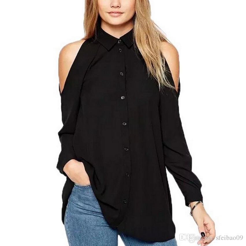 7a603f7b5e2 2019 European Women Summer Lapel Neck Off The Shoulder Single Breasted Long  Sleeve Casual Tops Plus Size S 5XL Fashion Chiffon Blouse Shirts From  Sfeibao09, ...