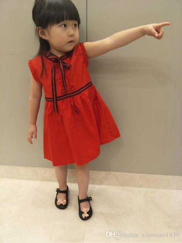 2018 New Summer Baby Girls Dress Bow Clothes Fashion Children Girls Vest Dresses