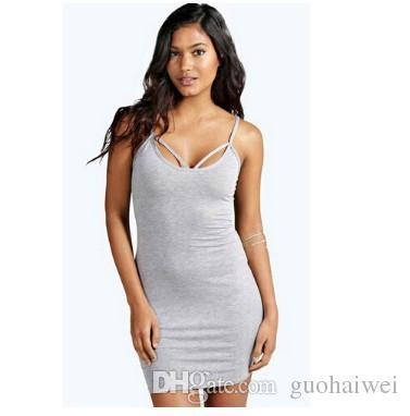 moda nueva llegada ropa de mujer Sexy Lady O-cuello Solid Slim Fit Bodycon Tank Dress vestido gris