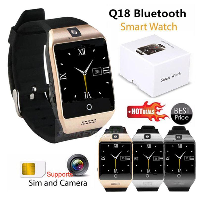 1 ADET Q18 0.3 M Kamera ile Bluetooth Akıllı Seyretmek Telefon MTK6261D Smartwatch android telefon için Mikro Sim TF kart Erkekler Kadınlar İzle