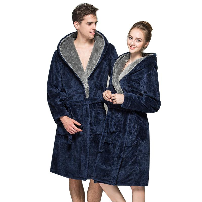 0bb4550663fb 2019 Coral Fleece Bath Robe Femme Hooded Casual Vintage Towel Bathrobe  Nightgown Long Blue Couple Robes 2018 Spring Winter Badjas From Modleline