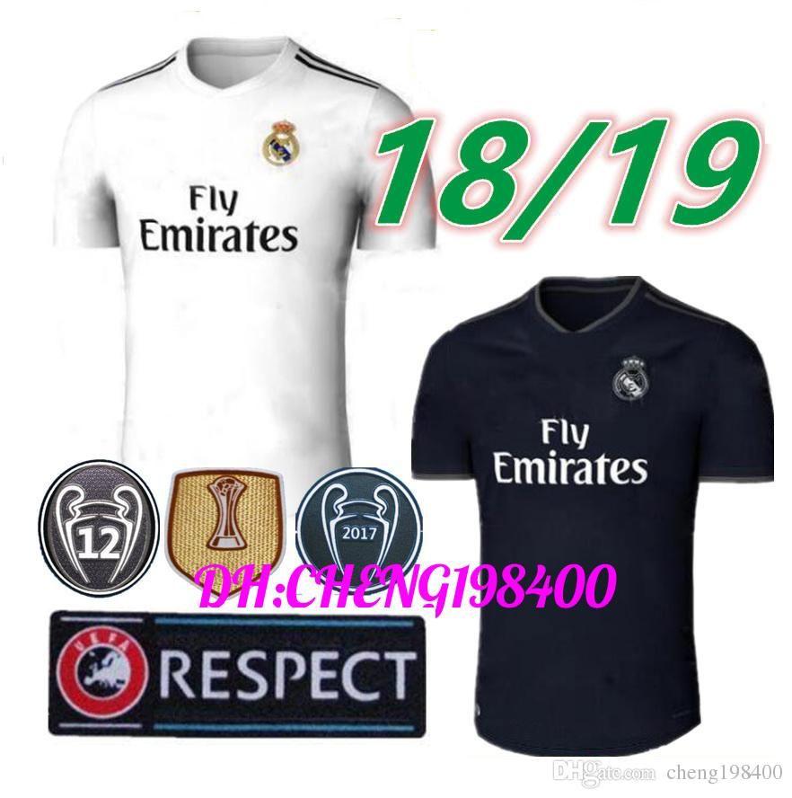 Compre 2018 2019 Real Madrid Camisa De Futebol Ronaldo Modric Kroos Sergio  Ramos Bale 2018 2019 Camisa De Futebol ASENSIO ISCO Uniforme Da Champions  League ... c82dad56f55ea