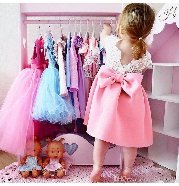 a909f60e522d 2019 Designer Baby Girl Clothes Big Bowknot Lace TuTu Skirts 2018 Kids  Girls Dresses Backless Flying Sleeve Birthday Princess Dress H784 From  Cutebaby2018