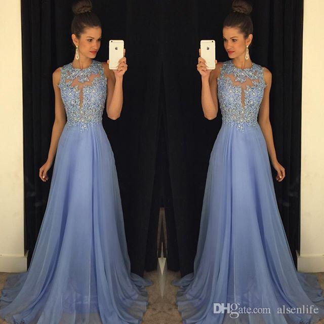 Lavender 2017 Long Prom Dresses Lace Applique Beads Formal Long Bridesmaid Dresses A Line Crew Neck Zip Back Chiffon Evening Party Gowns
