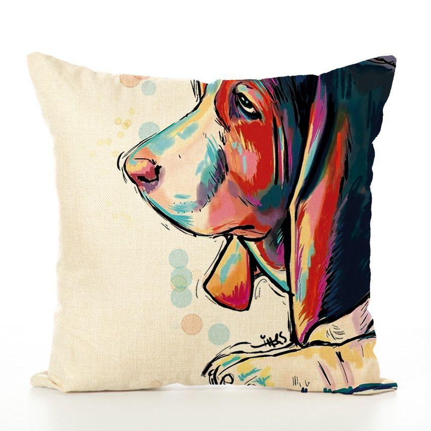 Oil Painting Colors France Bulldog Pillow Case dog Cushion Cover Linen Cotton Throw Pillowcases Sofa Car Decorative Pillowcover