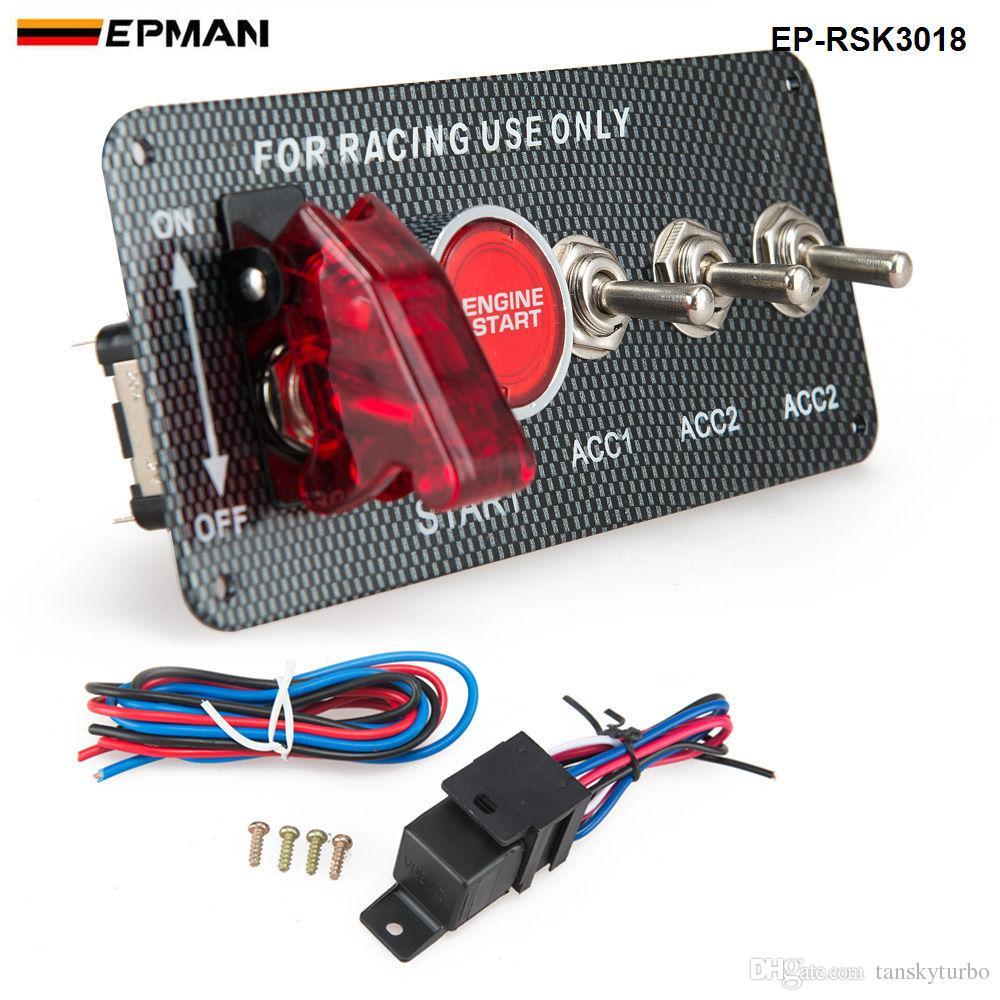 EPMAN - 4 in 1 탄소 섬유 패널 경주 용 자동차 엔진 시동 푸시 점화 스위치 토글 키트 EP-RSK3018