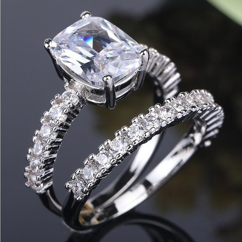 Size 6-10 Victoria Wieck Luxury Jewelry 925 Sterling Silver Cushion Shape White Topaz CZ Diamond Women Wedding Bridal Band Ring Set Gift