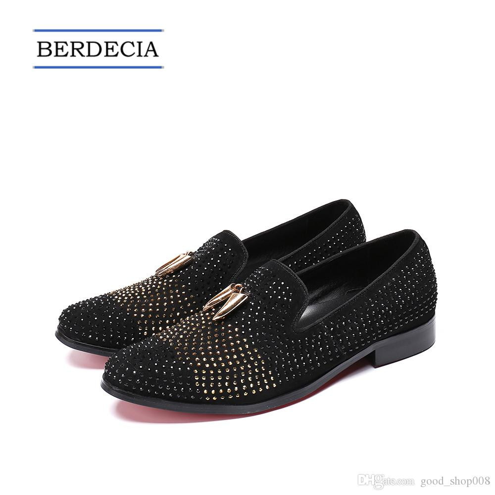 b70db0cc46a 2018 Designer New British Style Bling Bling Rhinestone Men Dress Shoes  Suede Leather Men Loafers Wedding Party Formal Shoes Big Size 38-47