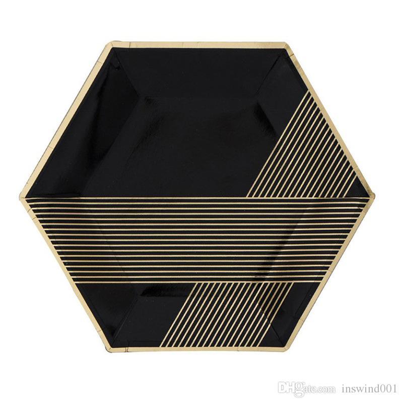Or noir vaisselle jetable définit feuille d'or feuille de papier tasses serviettes thème Festival pour la fête d'anniversaire fournitures d'obtention du diplôme
