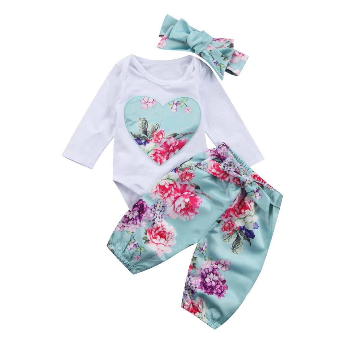 accfa9cafdf Baby Girls Clothing Sets Autumn Love Heart Floral Newborn Baby Girls ...