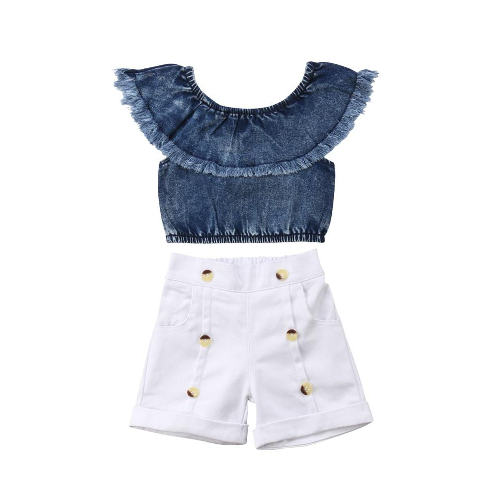 2d91dc8bc13942 2019 New Fashion Summer Toddler Kid Baby Girl Off Shoulder Tassels Tops  Solid Button Short Pants Outfits Set Cotton Clothes 1 6T From Entent