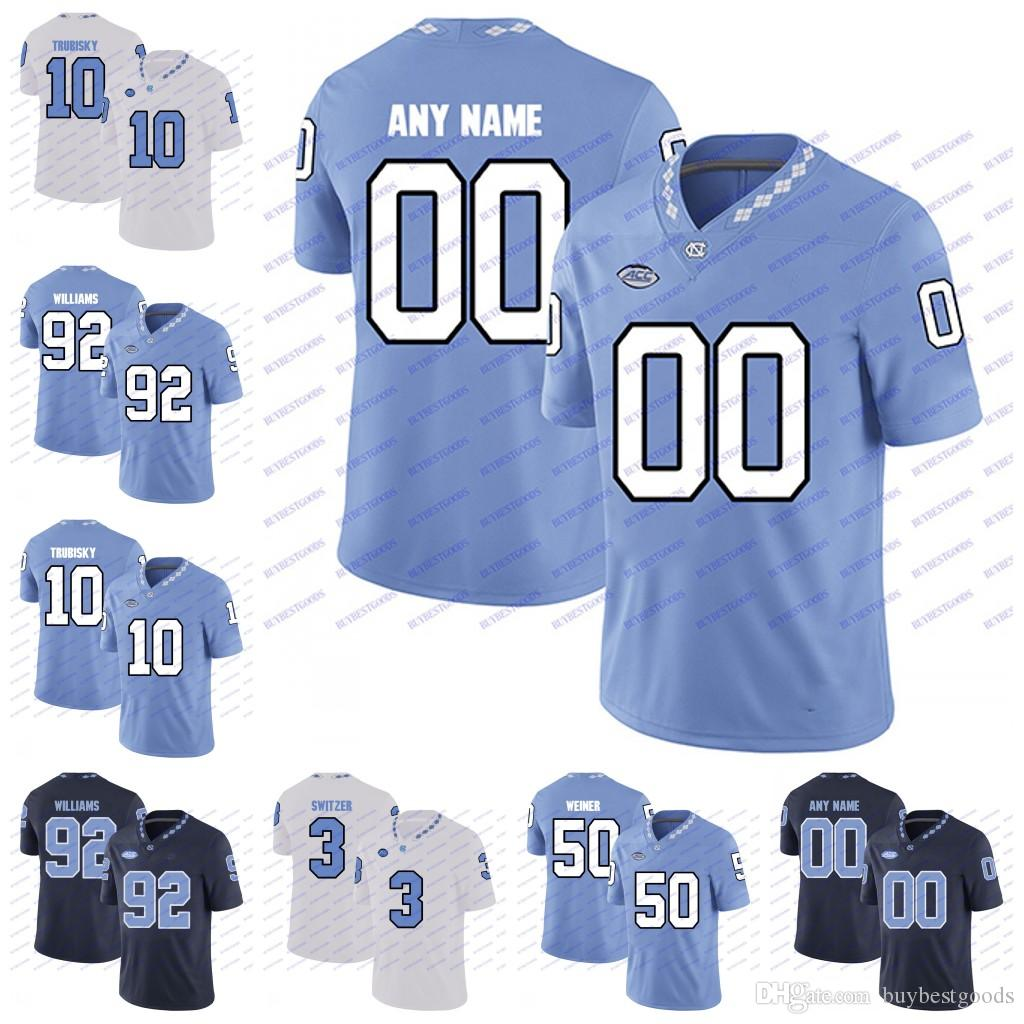 super popular af58b 06759 Custom NCAA North Carolina Tar Heels UNC 10 Trubisky 98 Lawrence Taylor 85  Eric Ebron 49 Julius Peppers College Football Jerseys White Navy