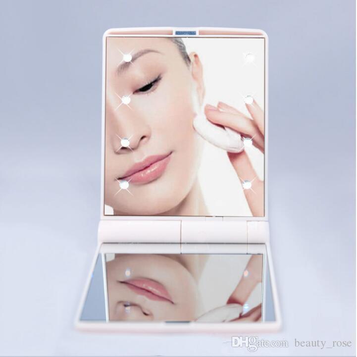 En Popüler Cep LED makyaj HD ayna ile 8 led ışıkları ve Dokunmatik Ekran akıllı karartma DHL ücretsiz kargo