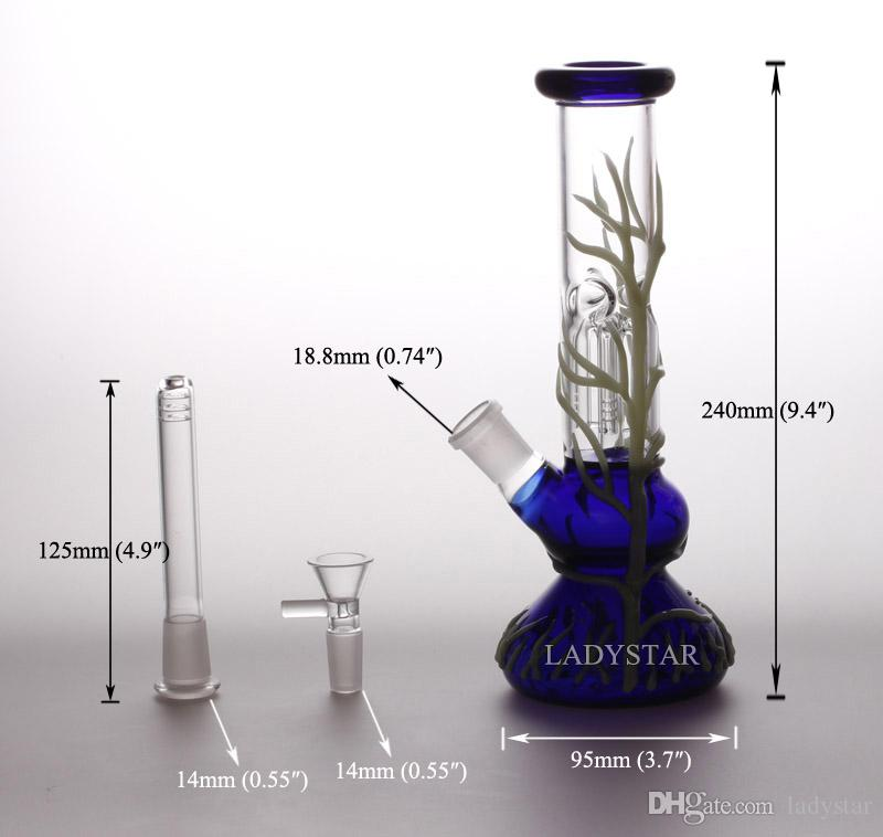 Noctilucent Oil Rigs Glass Bongs Tree Percolator Bongs Smoking Glass Water Pipes Hookah Glass Base Bubbler Pipes Straight Rigs Recycler L201